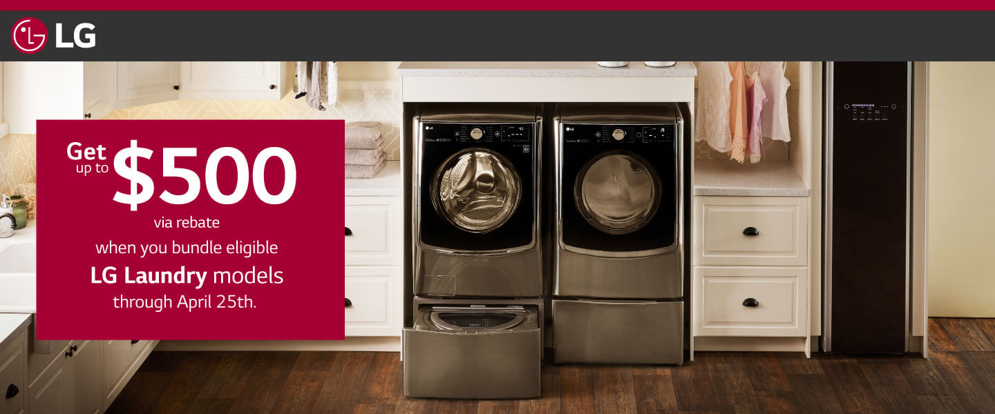 Save with LG's 2018 Ultimate Laundry Room offer.